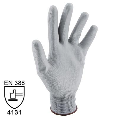 Nylon Handschuhe Arbeitshandschuhe mit PU Beschichtung EN388 - Art. 3701 Grau - Gr. 9 / L - 1 Paar - 1