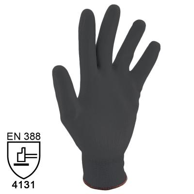 Nylon Handschuhe Arbeitshandschuhe mit PU Beschichtung EN388 - Art. 3702 Schwarz - Gr. 6 / XS - 1 Paar - 1