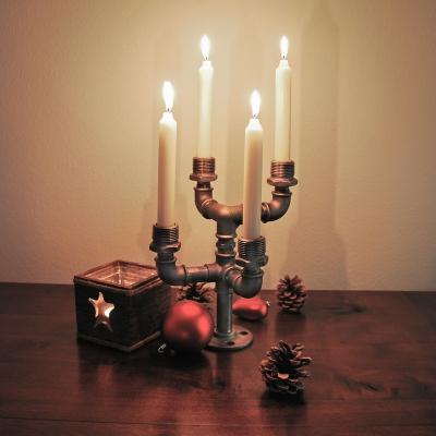 NOORDERLÜCHT - Kerzenständer aus Stahlrohren für 4 Stabkerzen - schwarz - Industriestil - 1