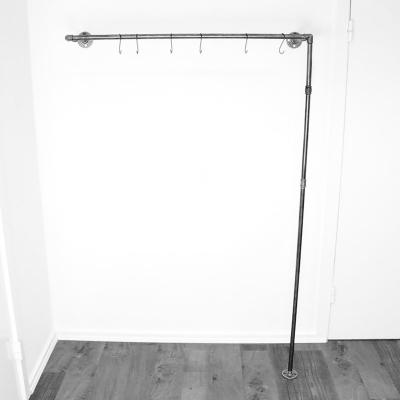 ÖVELGÖNNE V2 schwarz - Kleiderstange / Garderobe inkl. 6 Kleiderhaken - Industriestil - 1