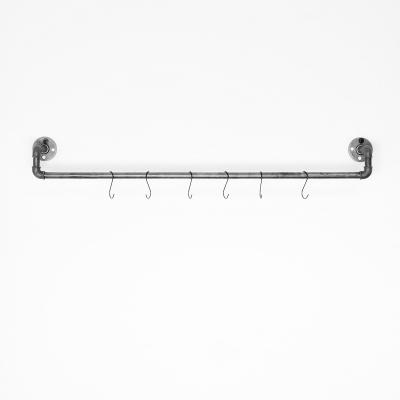 RELING V1 schwarz - Kleiderstange / Garderobe inkl. 6 Kleiderhaken - Industriestil - 1