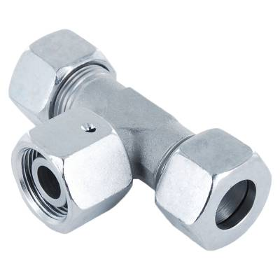 ET 8 L - Stahl verz. - T-Stutzen einstellbar m. Dichtkegel - Rohrverschraubung DIN 2353 - 1
