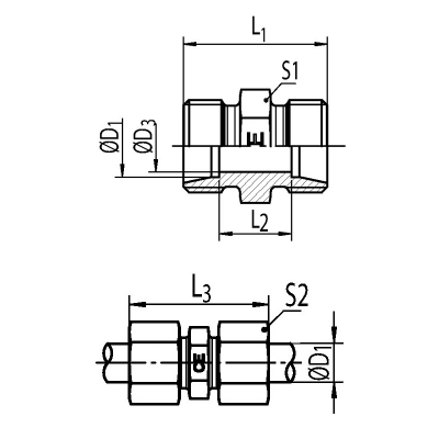 G 15 L - 15 mm - Stahl verz. - gerader Stutzen - Rohrverschraubung DIN 2353 - 1