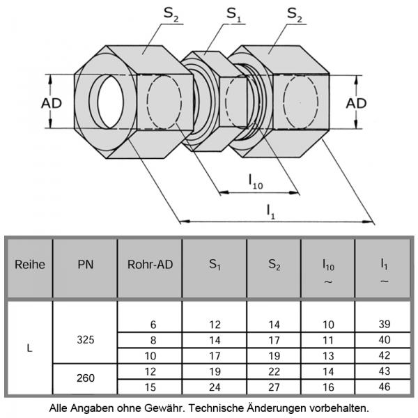 Schneidringverschraubung aus Messing Ms58 - Gerade - G 10-L - 10 mm - 3