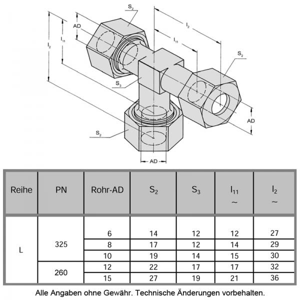 Schneidringverschraubung aus Messing Ms58 - T Stück - T 10-L - 10 mm - 4