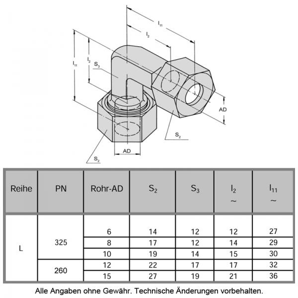Schneidringverschraubung aus Messing Ms58 - 90° Winkel - W 15-L - 15 mm - 3