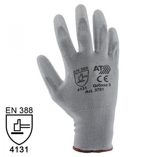 Nylon Handschuhe Arbeitshandschuhe mit PU Beschichtung EN388 - Art. 3701 Grau - Gr. 9 / L - 1 Paar - 2