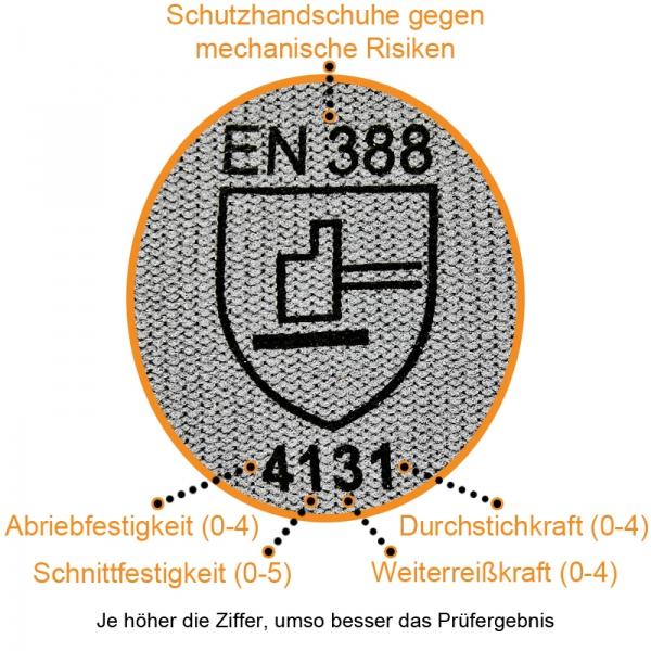 Nylon Handschuhe Arbeitshandschuhe mit PU Beschichtung EN388 - Art. 3701 Grau - Gr. 9 / L - 1 Paar - 3