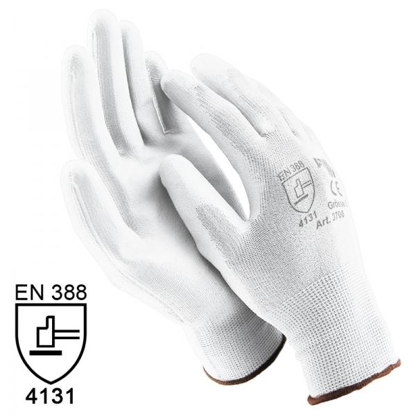 letzte Veröffentlichung perfekte Qualität kaufen Nylon Handschuhe Arbeitshandschuhe mit PU Beschichtung EN388 - Art. 3700  Weiß - Gr. 9 / L - 60 Paar