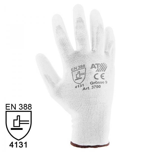 Nylon Handschuhe Arbeitshandschuhe mit PU Beschichtung EN388 - Art. 3700 Weiß - Gr. 10 / XL - 1 Paar - 2