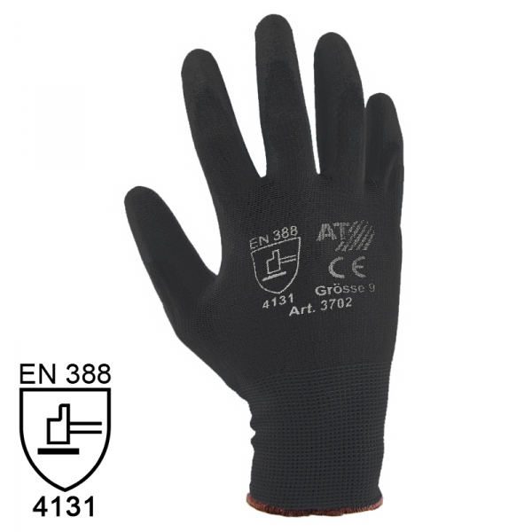 Nylon Handschuhe Arbeitshandschuhe mit PU Beschichtung EN388 - Art. 3702 Schwarz - Gr. 6 / XS - 1 Paar - 2