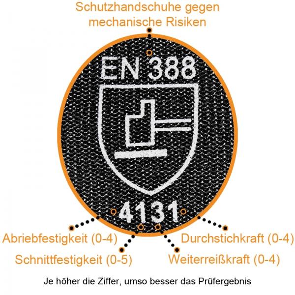 Nylon Handschuhe Arbeitshandschuhe mit PU Beschichtung EN388 - Art. 3702 Schwarz - Gr. 6 / XS - 1 Paar - 3
