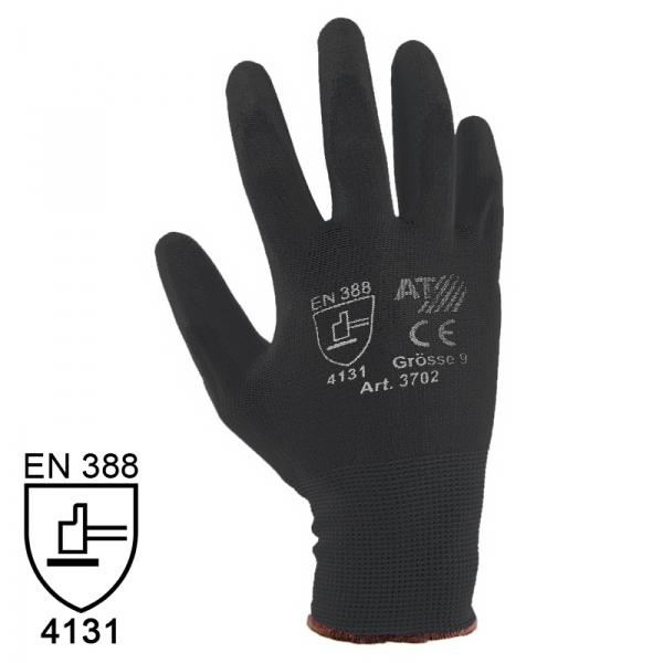 Nylon Handschuhe Arbeitshandschuhe mit PU Beschichtung EN388 - Art. 3702 Schwarz - Gr. 7 / S - 1 Paar - 2