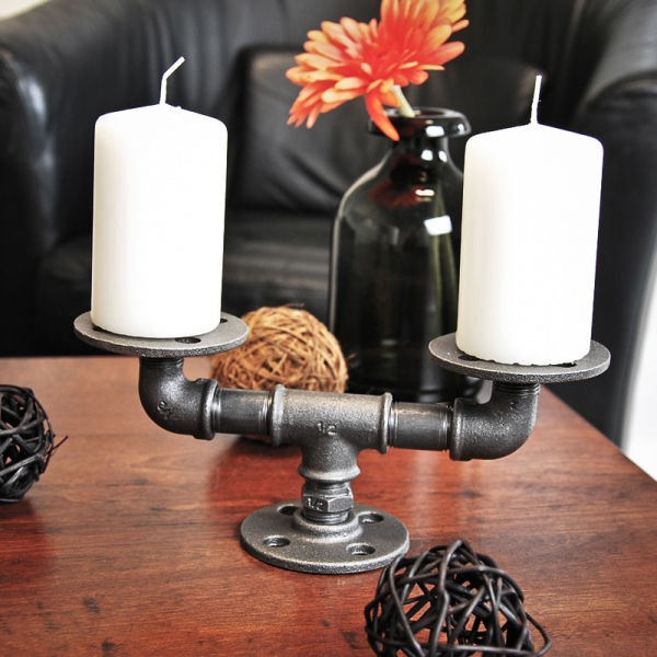 ELBLÜCHT - Kerzenständer aus Rohrverbindern - 2 in 1 - schwarz - Industriestil - 2