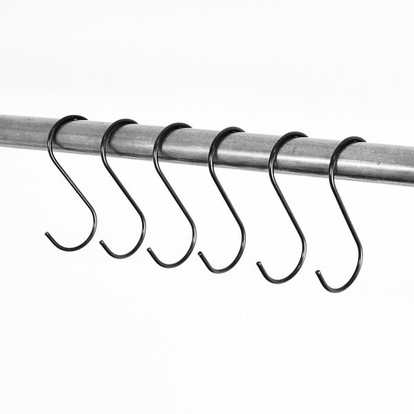 RELING V1 schwarz - Kleiderstange / Garderobe inkl. 6 Kleiderhaken - Industriestil - 3