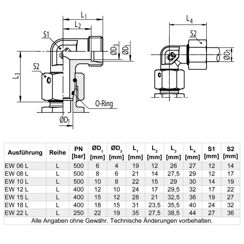 EW 18 L - Stahl verz. - Winkel-Stutzen einstellbar m. Dichtkegel - Rohrverschraubung DIN 2353 - 3