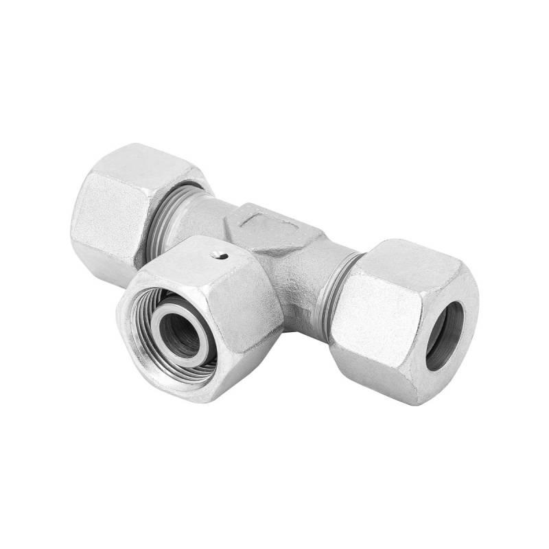 ET 8 L - Stahl verz. - T-Stutzen einstellbar m. Dichtkegel - Rohrverschraubung DIN 2353 - 2
