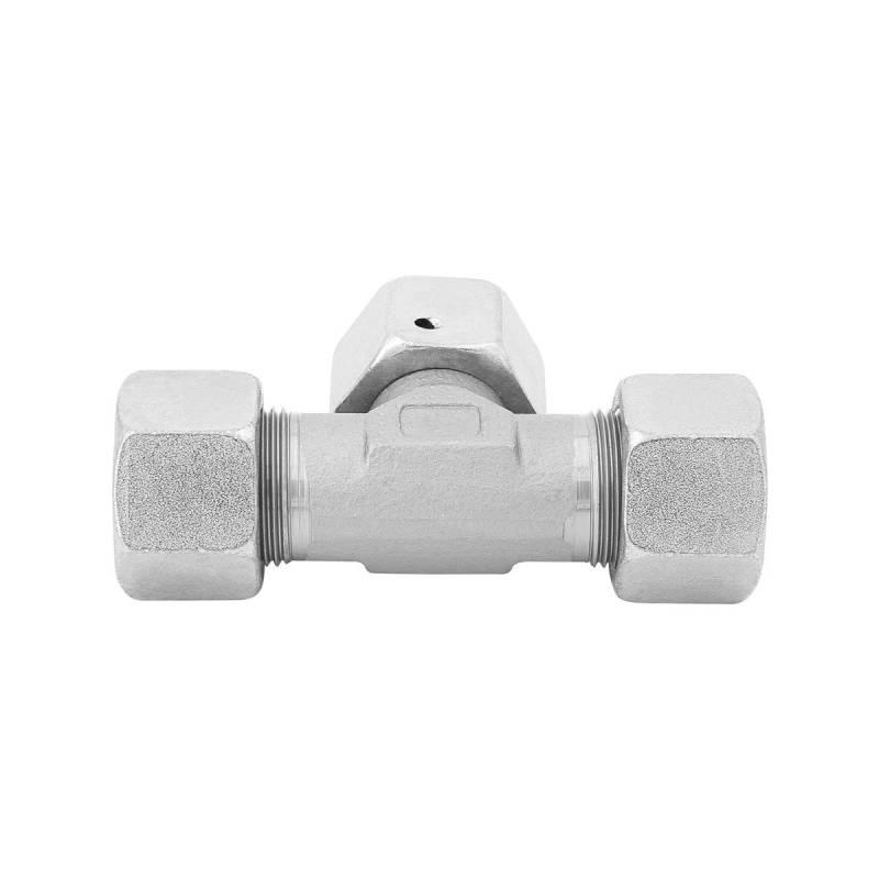 ET 8 L - Stahl verz. - T-Stutzen einstellbar m. Dichtkegel - Rohrverschraubung DIN 2353 - 3