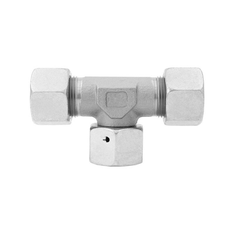 ET 8 L - Stahl verz. - T-Stutzen einstellbar m. Dichtkegel - Rohrverschraubung DIN 2353 - 4