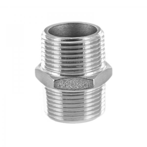 #340 V4A Doppelnippel mit Sechskant aus Edelstahl - 1 1/4