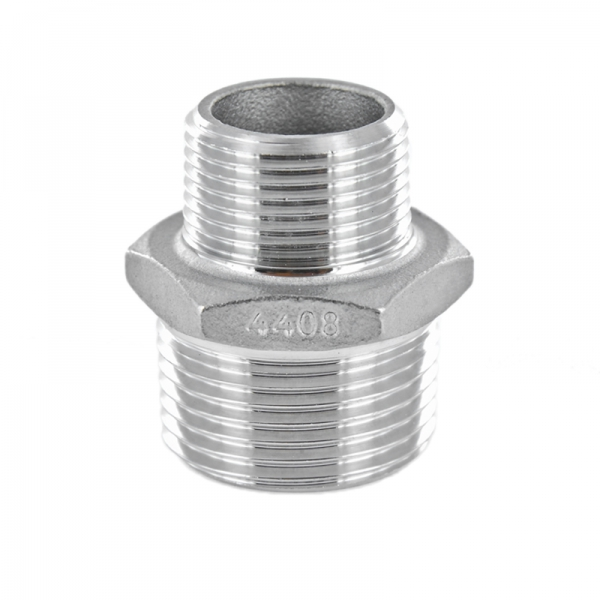 #341 V4A Reduzierdoppelnippel mit Sechskant aus Edelstahl -  AG x AG - 1/2